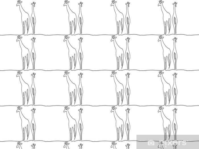 Tapeta na wymiar winylowa Ciągły jeden rysunek linii. symbol chodzenia żyrafa. logo żyrafy. ilustracji wektorowych - Zasoby graficzne