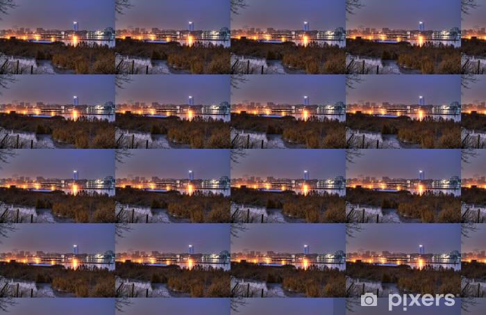 Tapeta na wymiar winylowa Niebieska godzina w zimie - Hamburg Alster zewnętrzna - Pejzaż miejski