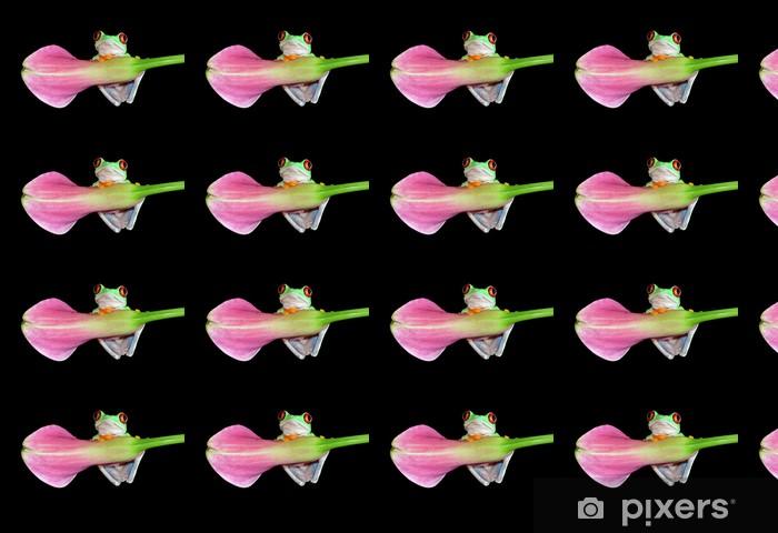 Vinyltapete nach Maß Rot gemusterter Baumfrosch auf Blume - Andere Andere