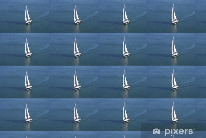 Tapeta na wymiar winylowa Jedynka Jacht na niebieskim morzu - Transport wodny