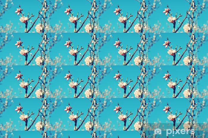 Papier peint vinyle sur mesure Printemps fleurs contre le ciel bleu - Saisons