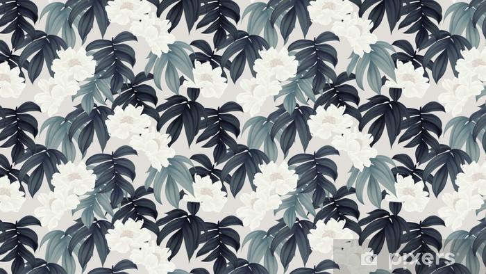 Papel pintado estándar a medida Patrón botánico transparente, flores blancas de paenia lactiflora y hojas sobre fondo marrón claro - Plantas y flores