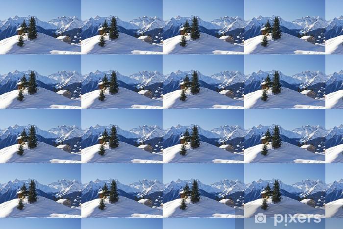 Carta da parati in vinile su misura Inverno in montagna - Vacanze