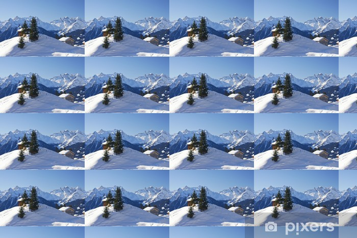 Papier peint vinyle sur mesure L'hiver dans les montagnes - Vacances