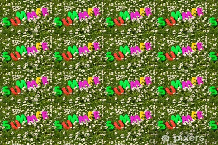 Tapeta na wymiar winylowa Napis Lato w kwiat łąki - Wakacje