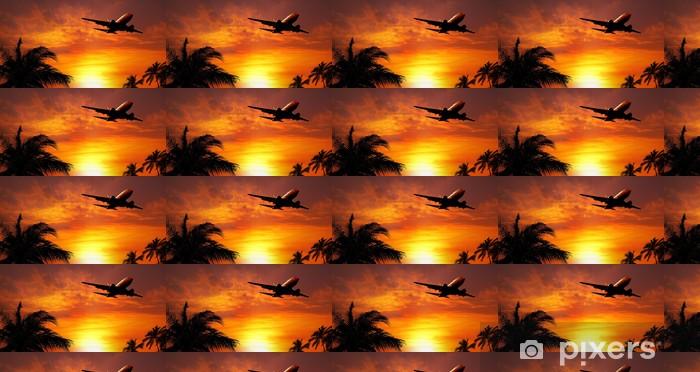 Vinyltapete nach Maß Flugzeug bei Sonnenuntergang - Luftverkehr