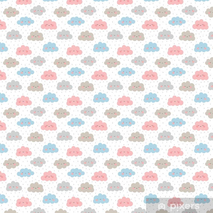 Cute Cartoon Face Cloud Seamless Pattern Background with Dot, Vector illustration Self-adhesive custom-made wallpaper - Landscapes