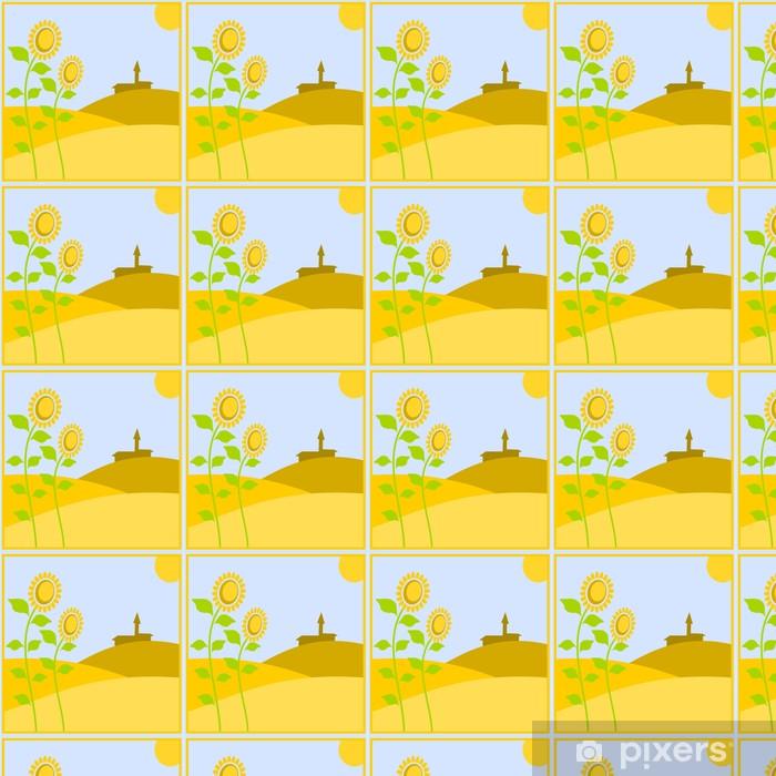 Papier peint vinyle sur mesure Paesaggio con di Campagna girasoli - Agriculture