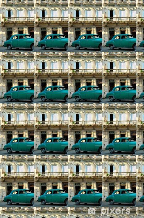 Tapeta na wymiar winylowa Zielona rocznika samochód zaparkowany w Hawanie ulicy - Ameryka