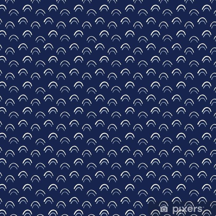 Vinyltapete nach Maß Creme Hand gezeichnete Bögen Vektor nahtlose Muster. abstrakter ausgeschnittener Druck. geometrischer Indigo fishscale Hintergrund - Grafische Elemente