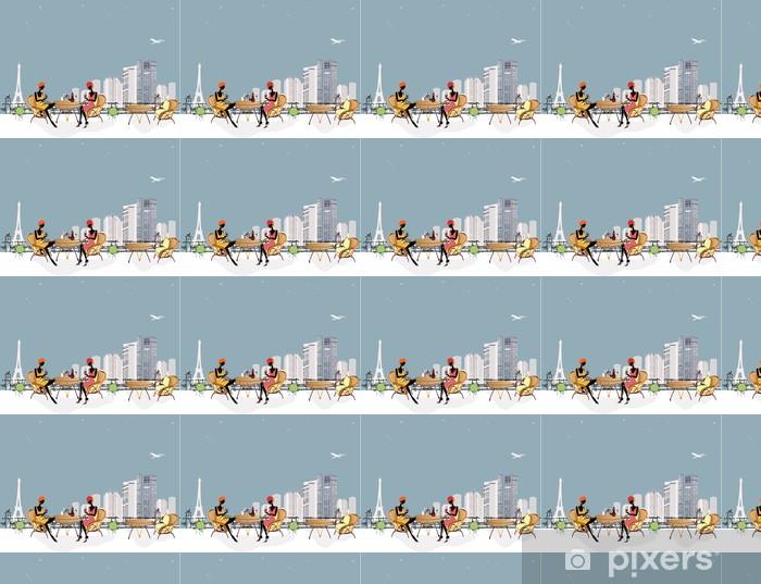 Papier peint vinyle sur mesure 2 filles le Chat dans le restaurant - Paysages urbains