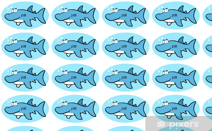 Papier peint vinyle sur mesure Illustrations de dessin animé de sourire de requin - Sticker mural
