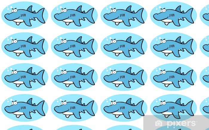Cartoon Illustrations Of Smiling Shark Vinyl custom-made wallpaper - Wall decals