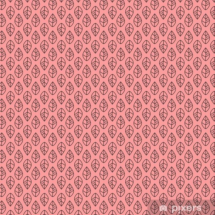 Tapeta na wymiar winylowa Bezszwowe wektor zarys wzór liści na różowym tle. projekt tapety, tkaniny, tkaniny, opakowania. proste tło - Zasoby graficzne