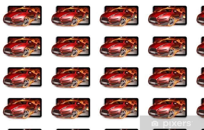 Tapeta na wymiar winylowa 3D TV. Spalanie samochodu na ekranie telewizora. - Wideo
