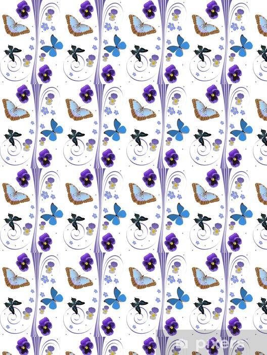 Tapeta na wymiar winylowa Niebieskie kwiaty i drzewa motyle wzór - Kwiaty