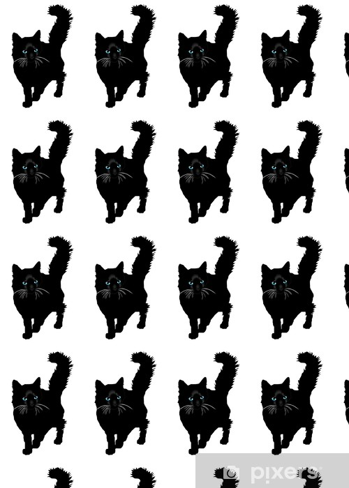 Black cat a silhouette with color eays vector Vinyl custom-made wallpaper - Mammals