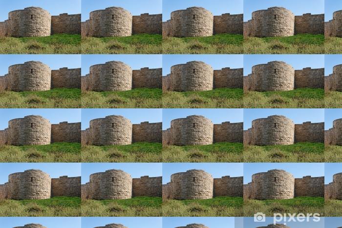 Tapeta na wymiar winylowa Okrągła wieża i ściany średniowiecznego zamku wśród trawy - Bliski Wschód