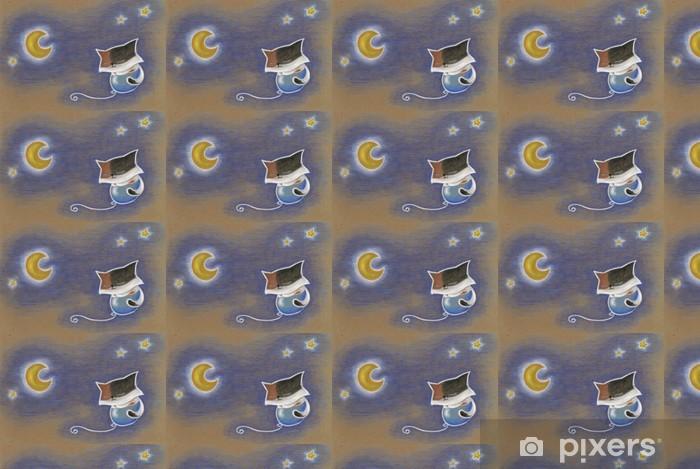 Vinylová tapeta na míru Gatto che vola su un palloncino nel cielo di notte - Savci