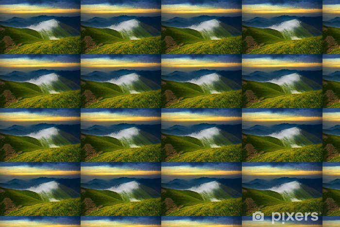 Sunset in the mountains Vinyl custom-made wallpaper - Mountains