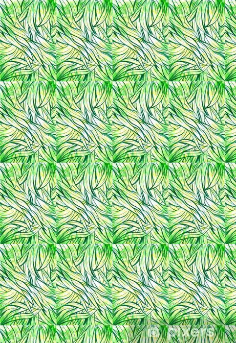Vinyl behang, op maat gemaakt Achtergrond met groene gras en bladeren aquarel geschilderd. - Seizoenen