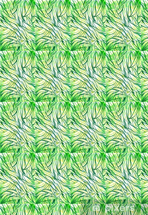 Tapeta na wymiar winylowa Tło z zielonej trawy i liści akwarela malowane. - Pory roku