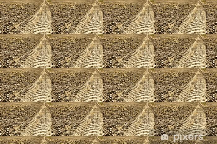 Fresh tractor track in the dirt Vinyl custom-made wallpaper - America
