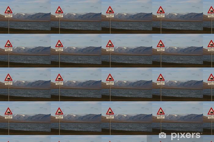 Papier peint vinyle sur mesure Warnung Eisbären vor - Pôle nord et Pôle sud