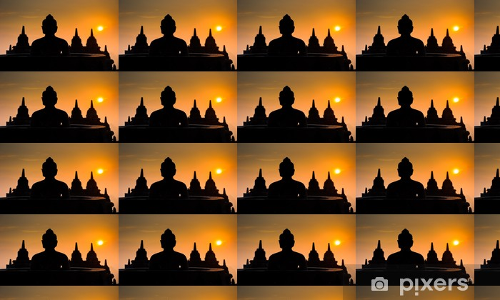 Papier peint vinyle sur mesure Temple de Borobudur au lever du soleil, Java, Indonésie - Asie