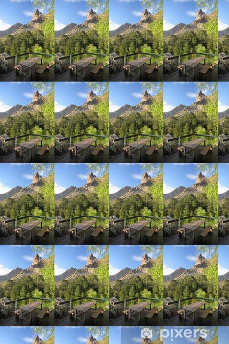 Veranda and mountain view, GR20, Corse. Vinyl Wallpaper - Europe