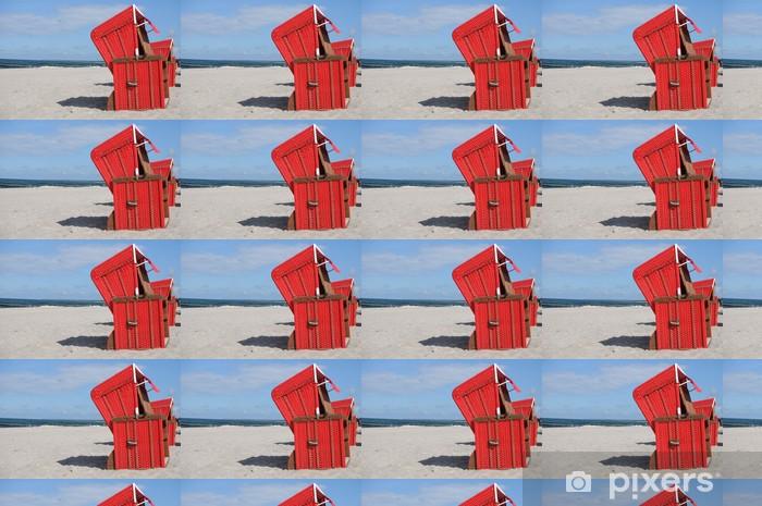 Tapeta na wymiar winylowa Czerwone krzesło plaży Bałtyckiego - Wakacje