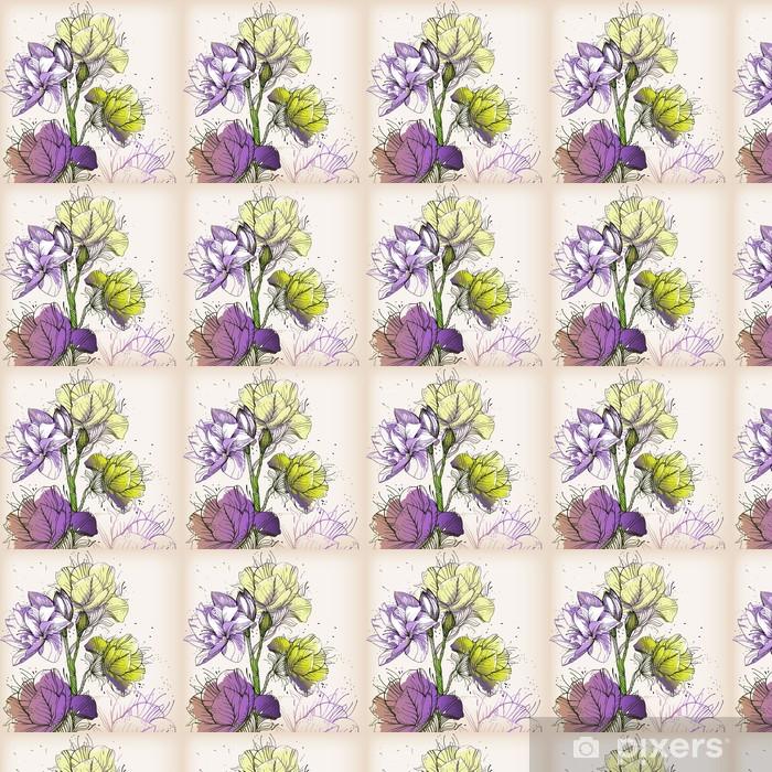 Papier peint vinyle sur mesure Floraison branche avec fleurs colorées - Saisons