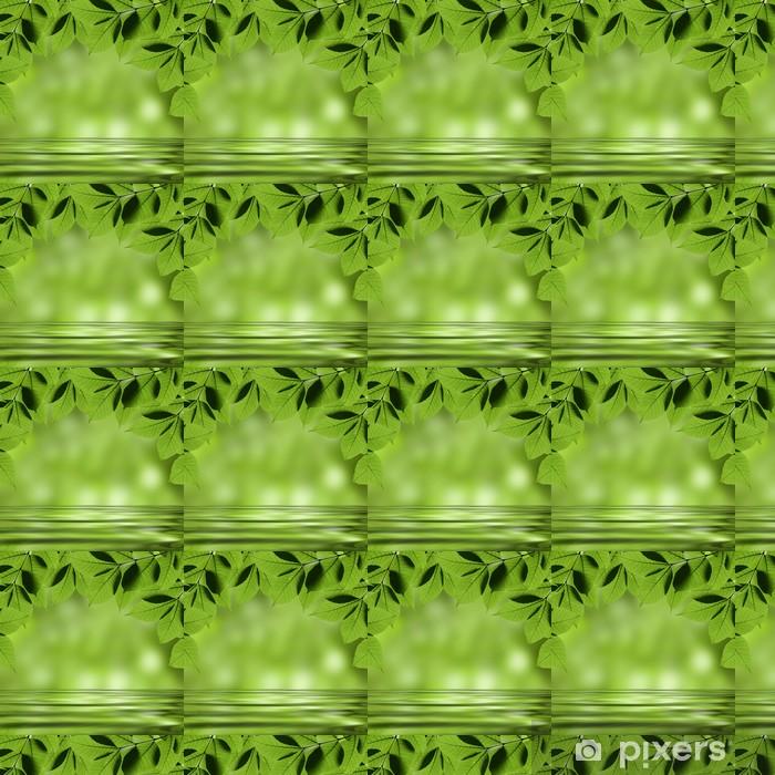 Tapeta na wymiar winylowa Zielone liście, odzwierciedlając w wodzie - Tematy