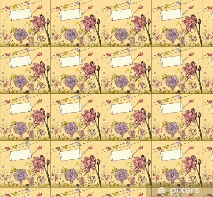 Tapeta na wymiar winylowa Ręcznie rysowane tła z kwiatów i ptaków - Pory roku
