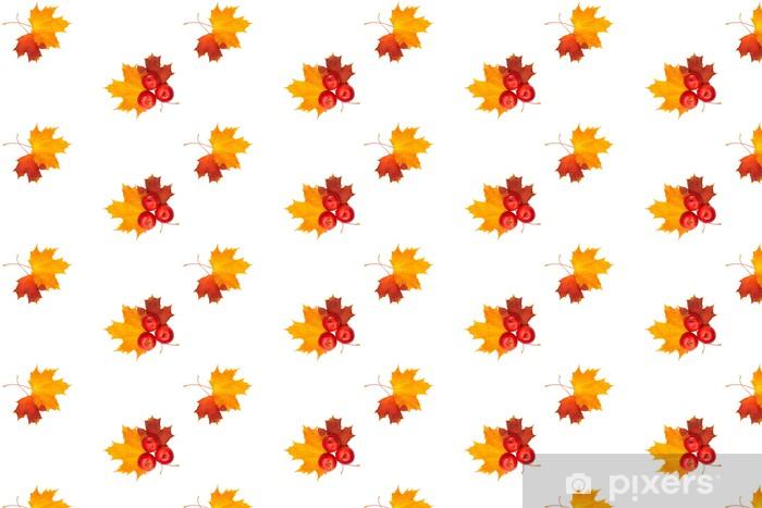 Tapeta na wymiar winylowa Piękne ramki jesień - liść klonu i czerwone jabłko na wh - Pory roku