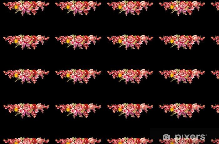 Papier peint vinyle sur mesure Conception avec des fleurs rouges sur fond noir différents - Fleurs