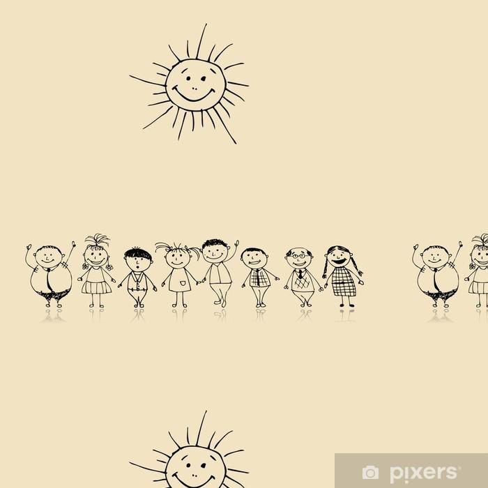 Vinylová Tapeta Velká rodina se společně, přičemž skica - Rodinný život
