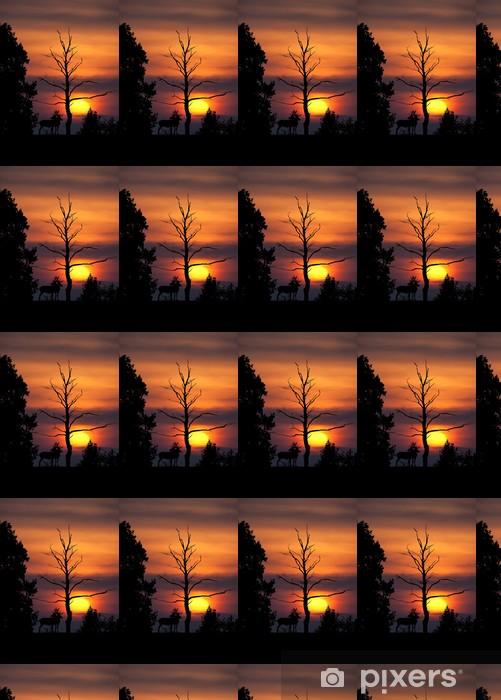 Papier peint vinyle sur mesure Cerf brame soir crépuscule soleil ombre silhouette arbre mammif - Mammifères