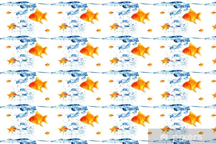 Papier peint vinyle sur mesure La respiration des poissons d'or sous l'eau - Animaux marins
