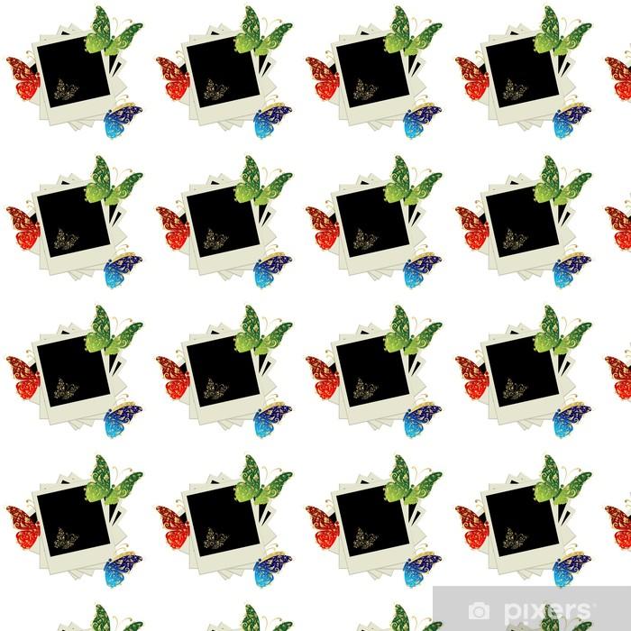 Papier peint vinyle sur mesure Pile de photos, insérez vos photos dans des cadres, papillon - Temps