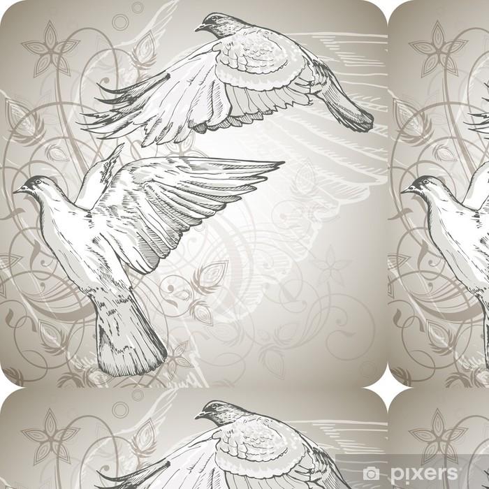 Vinylová Tapeta Létání holubice na pozadí stylizovaného ornamentu - Ptáci