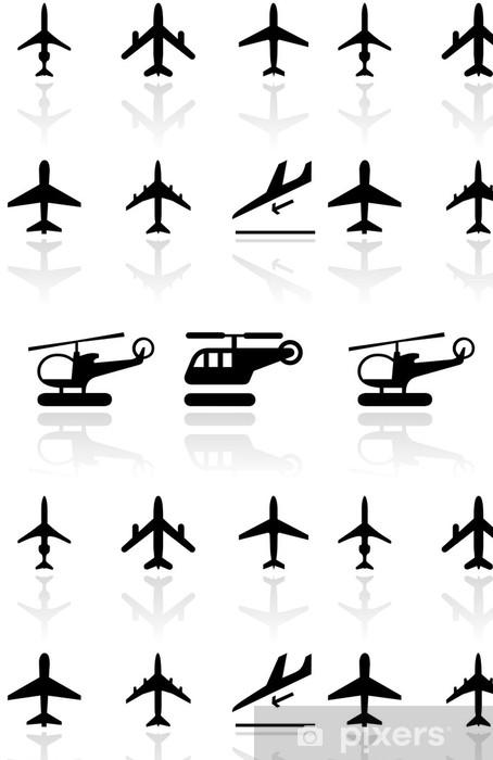 Vinylová Tapeta Vector sada různých letadel a vrtulníků symboly. - Vzduch