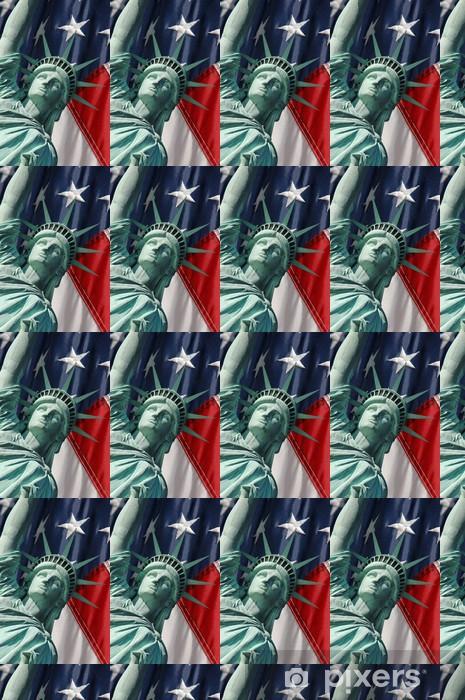 Papier peint vinyle sur mesure La statue de la liberté et les étoiles et les rayures - Liberté