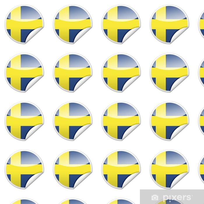 Papier peint vinyle sur mesure Suède drapeau autocollant avec jante - Réussite