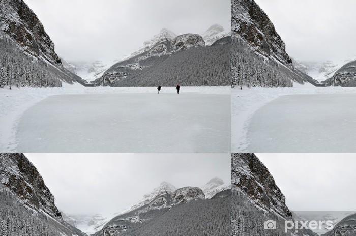 Papier peint à motifs vinyle Patinage sur glace, Lake Louise - Montagne