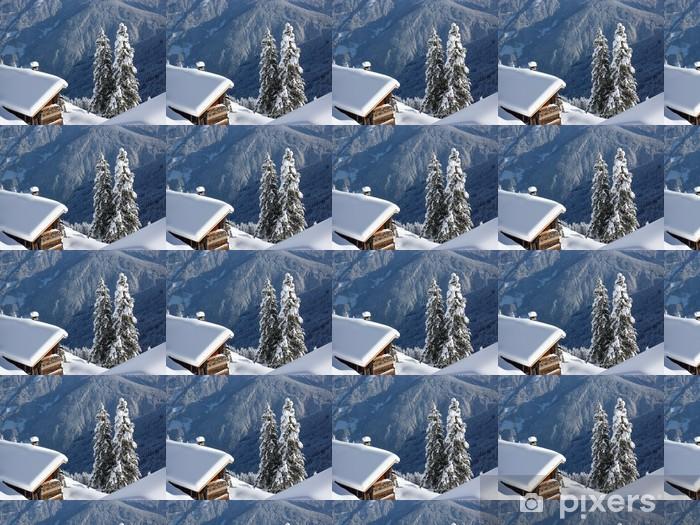 Tapeta na wymiar winylowa Drewno opałowe w domku w śniegu - Wakacje