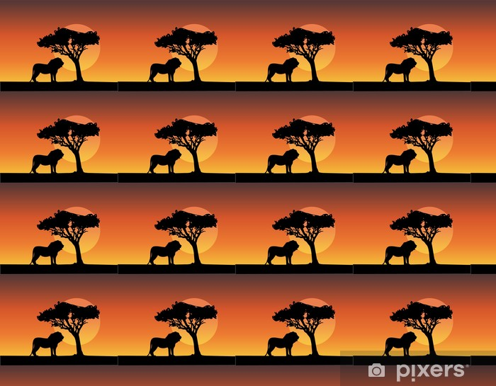 africa safari silhouettes of lion - vector Vinyl custom-made wallpaper - Africa