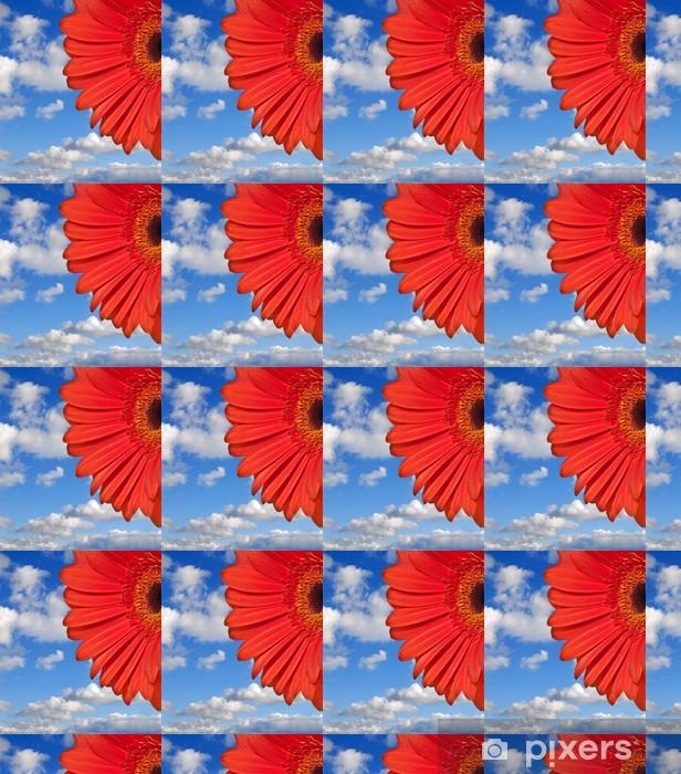 Papier peint vinyle sur mesure Fleur rouge et bleu ciel - Fleurs