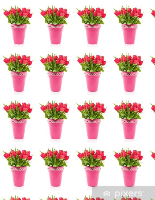 Tapeta na wymiar winylowa Bukiet czerwonych tulipanów kolorowe w różowy Wazon z czerwonym biały - Kwiaty