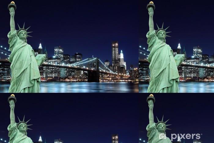 Vinylová Tapeta Brooklyn Bridge a Socha Svobody, New York City - New York